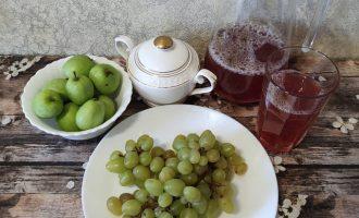 Компот из винограда и яблок с фото