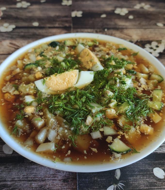 Рецепт мясной окрошки с фото пошагово
