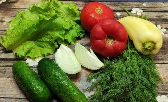 Рецепт салата из огурцов помидоров и перца